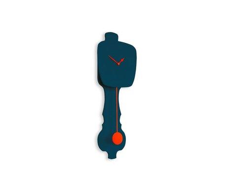 KLOQ Klok petrol blauw small, oranje hout 59x20,4x6cm
