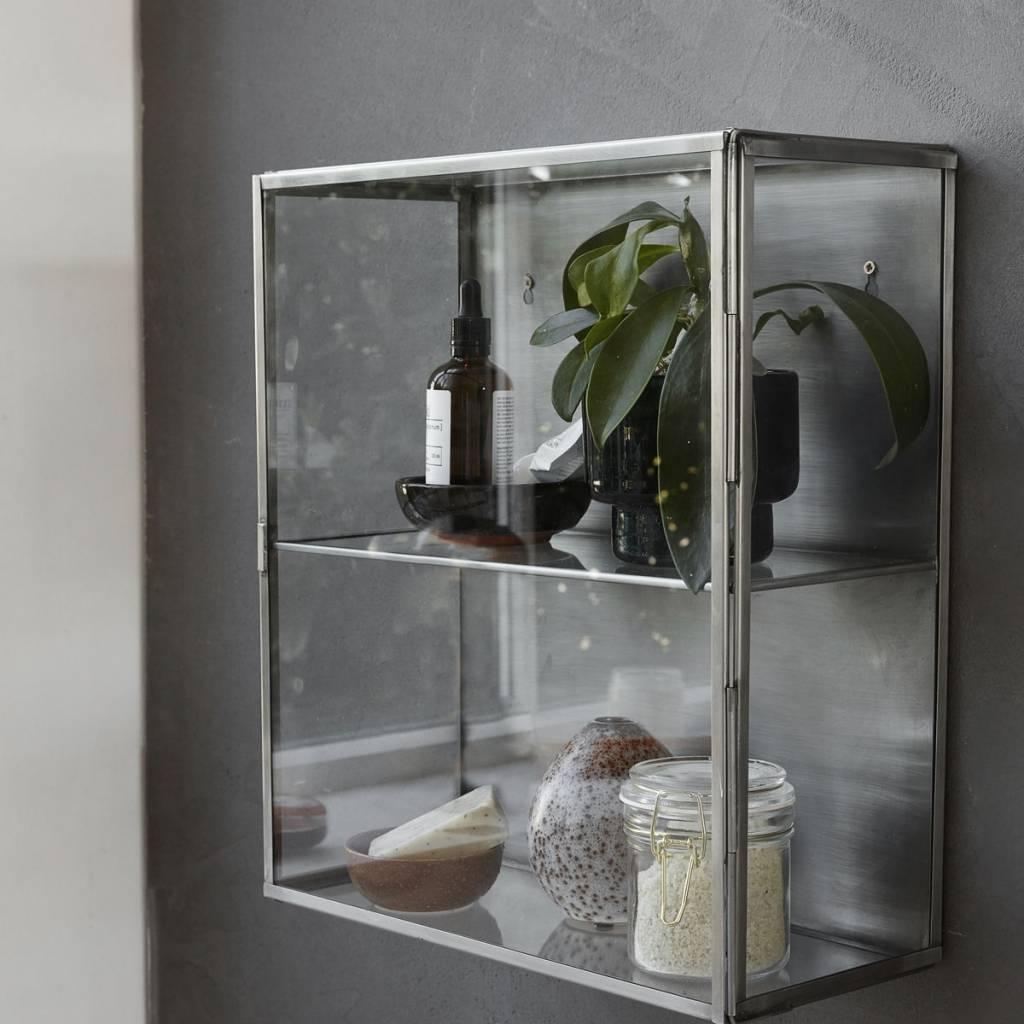 Wandkast Met Glas.Housedoctor Wandkast Zink Grijs Metaal Glas 35x15x40cm Lefliving Be