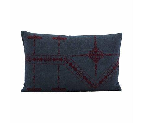 Housedoctor Kussenhoes Inka blauw linnen 50x30cm