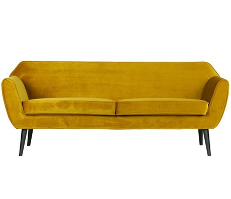 LEF collections Bank Rocco sofa oker geel fluweel polyester 75x187x82cm