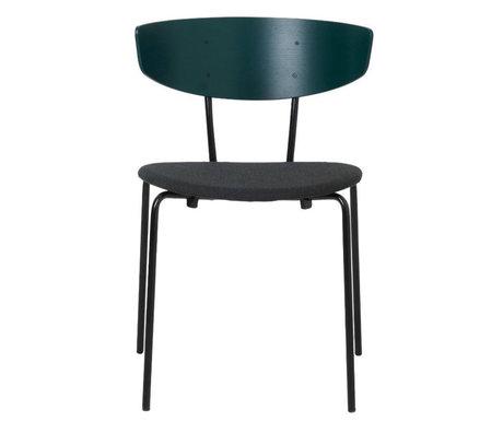 Ferm Living Eetkamerstoel Herman gestoffeerd donker groen hout metaal textiel 50x74x47cm