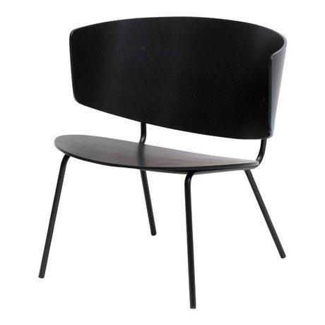 Ferm Living Loungestoel Herman zwart hout metaal 68x68x60cm