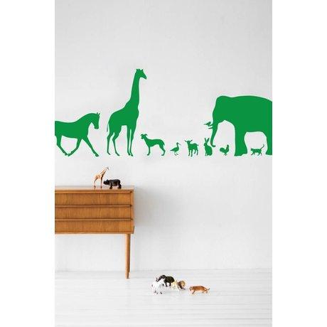 Ferm Living Muursticker Animal Farm groen vinyl 50x100cm
