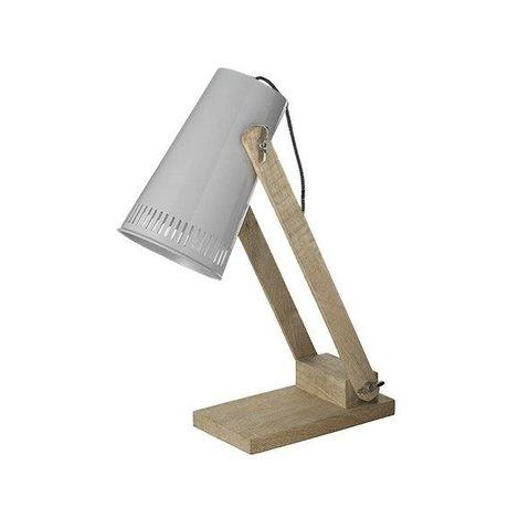 LEF collections Tafellamp Retro zilver bruin metaal hout 16x26x52cm
