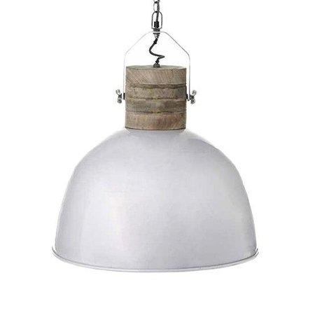 LEF collections Hanglamp Nordic L wit bruin aluminium hout ∅49x55cm
