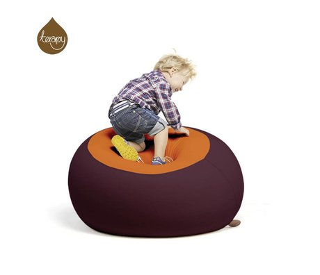Terapy Zitzak Stanley aubergine oranje 70x70x80cm 320liter
