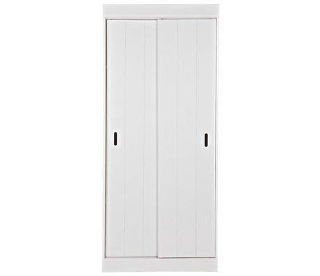 LEF collections Kast Row planken met schuifdeuren wit grenen 85x44x195cm