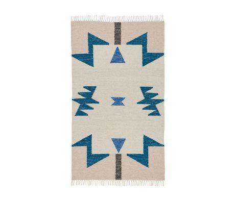 Ferm Living Vloerkleed Kelim Blue Triangles 2 maten 80x140cm en 140x200cm
