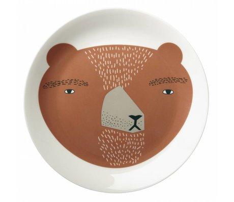 Bord Bear plate porselein wit/bruin ø21cm