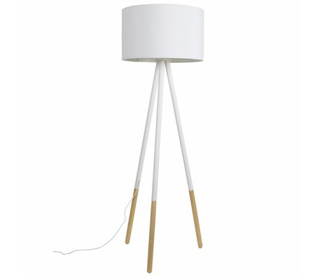 Zuiver Vloerlamp Highland metaal/hout wit Ø53xH155cm