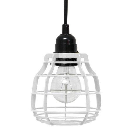 HK-living Hanglamp LAB metaal wit met schakelaar 13x13x17cm