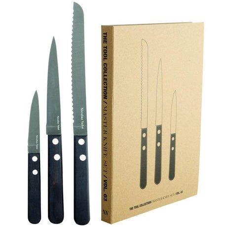 Nicolas Vahe Master messenset bestaande uit 3 soorten messen rvs en zwart pakkawood