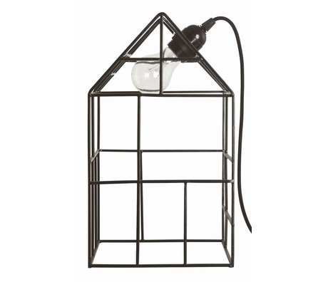 Housedoctor Tafellamp/Decohuis metaal zwart 20x20x35cm