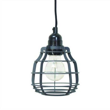 HK-living Hanglamp LAB mat grijs met plafondkapje metaal Ø13x13x17cm