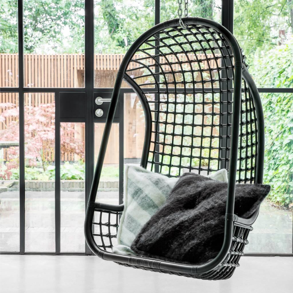 Hk Living Hangstoel.Hk Living Hangstoel Zwart Rotan 55x72x110cm Lefliving Be