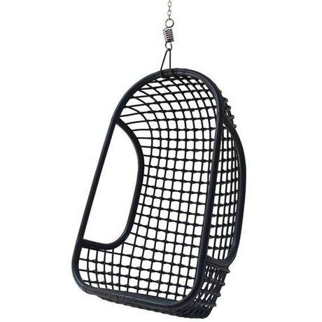 HK-living Hangstoel zwart rotan 55x72x110cm