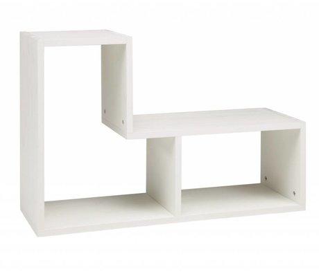 LEF collections Stapelkast 'Tetris' geborsteld grenen wit stapelkast 80x27x54cm
