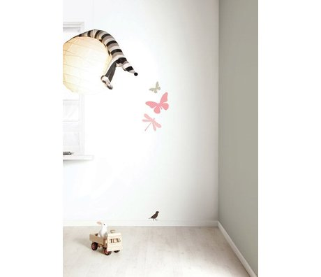 KEK Amsterdam Muursticker set 'Miniset 1 GIRLS' roze/bruin vinyl