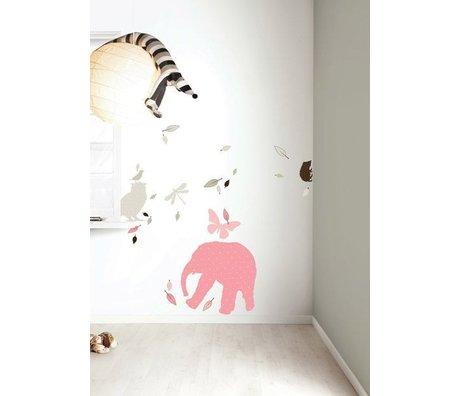 KEK Amsterdam Muursticker set 'Elephant XL GIRLS' roze/bruin vinyl