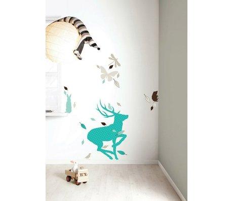 KEK Amsterdam Muursticker set 'Deer XL BOYS' blauw/bruin vinyl