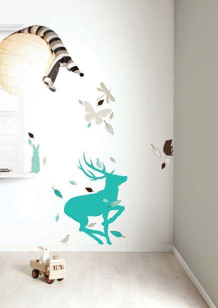 Dieren Stickers Muur.Kek Amsterdam Muursticker Set Deer Xl Boys Blauw Bruin Vinyl