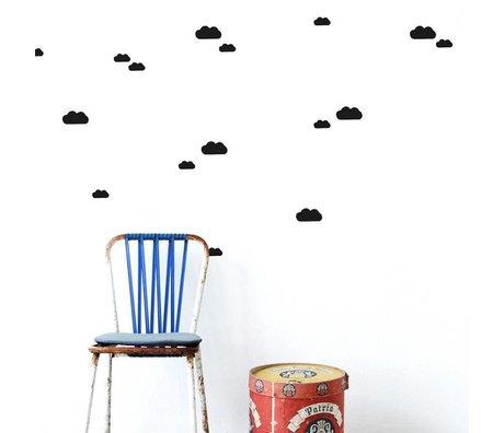 Ferm Living Muurstickers Mini Clouds zwart vinyl 27 stuks op A4