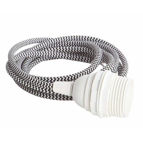 Housedoctor Snoer elektra met fitting E27, wit /zwart fabric wire, witte fitting, strijkijzersnoer