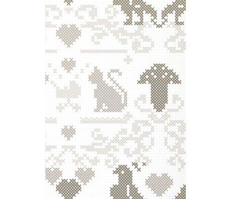 KEK Amsterdam Behang papier wit/grijs 8.3m x 47.5 cm, Wallpaper 080