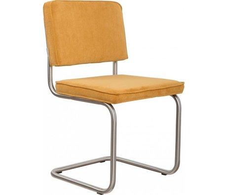 Zuiver Eetkamerstoel geborsteld buis frame geel ribstof 48x48x85cm, Chair Ridge brushed rib yellow 24A