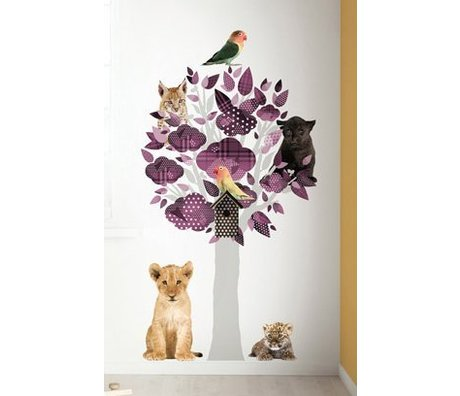 KEK Amsterdam Muursticker safari boom paars vinyl 88x145cm, Safari Friends Tree