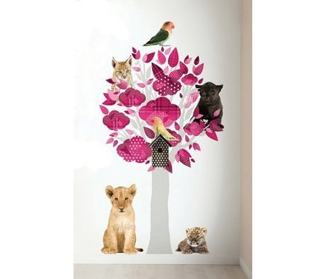 KEK Amsterdam Muursticker safari boom roze vinyl 88x145cm, Safari Friends Tree