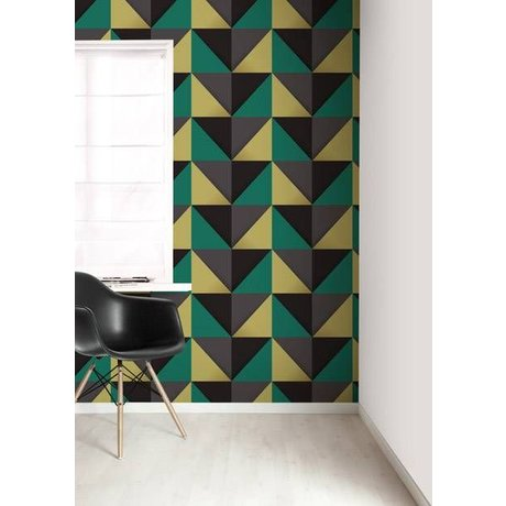 KEK Amsterdam Behang multicolour/grijs driehoeken 8,3mx47,5cm 4m²