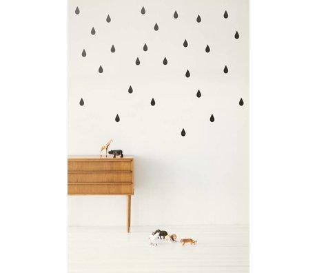 Ferm Living Muursticker druppels Wall Stickers - Mini Drops zwart