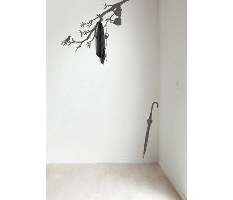 KEK Amsterdam Muursticker/Kapstok donker grijs 116x42cm Beautiful Branch muurfolie