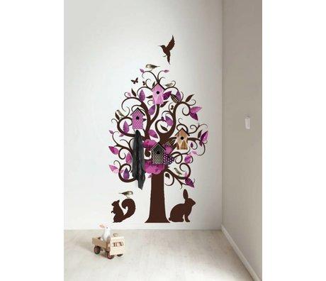 KEK Amsterdam Muursticker/Kapstok paars 95x150cm Birdhouse Tree muurfolie