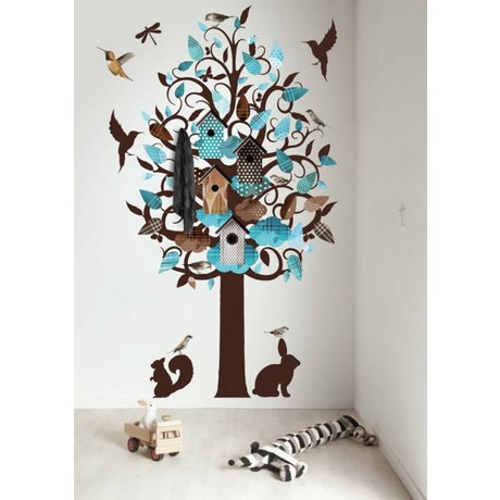 KEK Amsterdam Muursticker/Kapstok turquoise 120x220cm Birdhouse Tree XL muurfolie