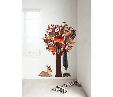 KEK Amsterdam Muursticker/Kapstok oranje 95x150cm Forest Friends Tree muurfolie