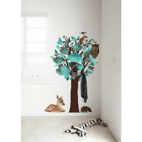 KEK Amsterdam Muursticker/Kapstok turquoise 95x150cm Forest Friends Tree muurfolie
