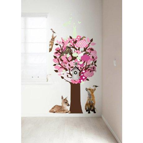 KEK Amsterdam Muursticker roze 95x150cm Glow-in-the-dark Tree muurfolie