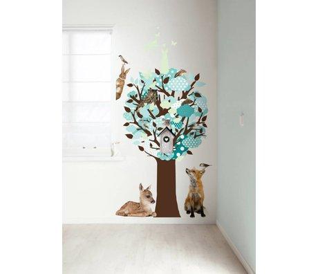 KEK Amsterdam Muursticker turquoise 95x150cm Glow-in-the-dark Tree muurfolie