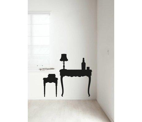 KEK Amsterdam Muursticker zwart Vintage Furniture Table muurfolie