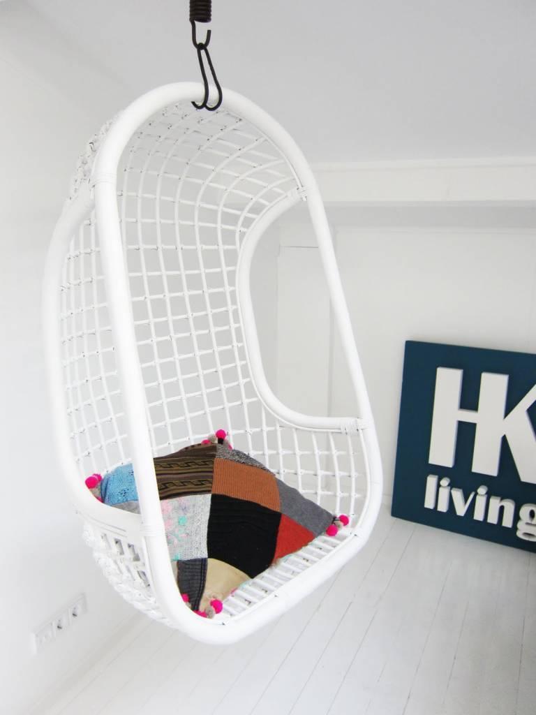 Hk Living Hangstoel Buiten.Hk Living Hangstoel Wit Rotan 55x72x110cm Lefliving Be