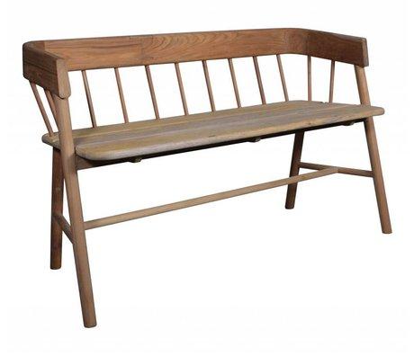 HK-living Bank bruin teak hout 45x123x72cm