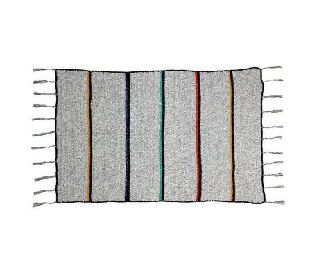 Storebror Plaid grijs met strepen en franjes wol 180x120cm