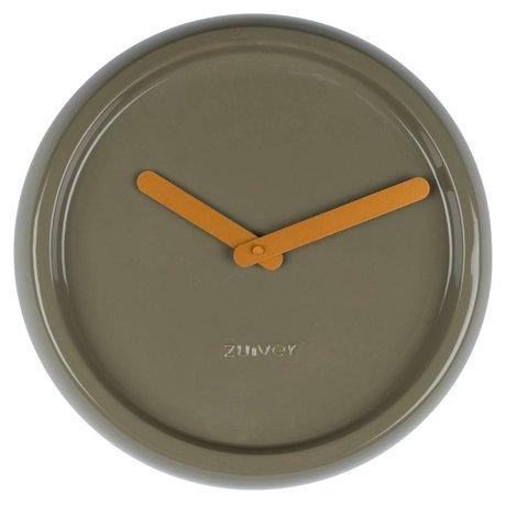 Zuiver Zuiver Klok keramiek groen met geel gouden wijzers Ø35x10cm