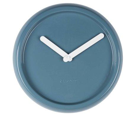 Zuiver Klok keramiek blauw met witte wijzers Ø35x10cm