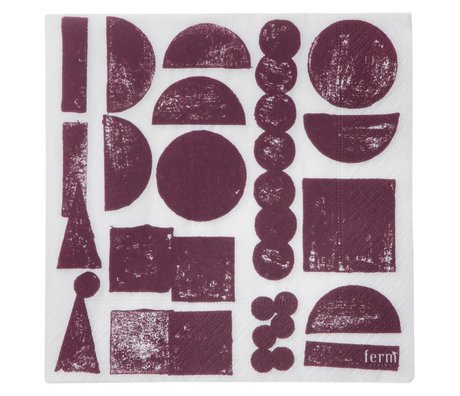 Ferm Living Servetten Stamp aubergine grijs set van 20 stuks 16,5x16,5cm