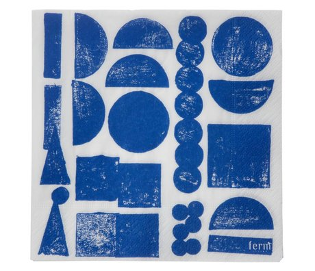 Ferm Living Servetten Stamp blauw grijs set van 20 stuks 16,5x16,5cm