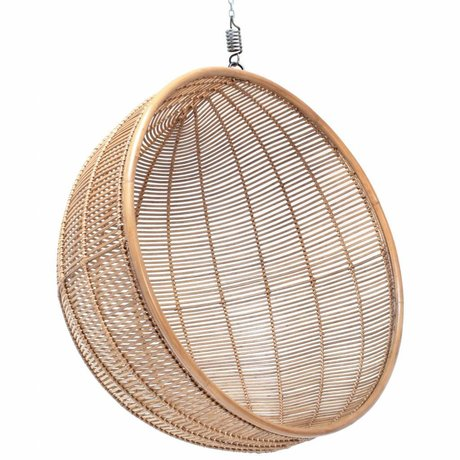 HK-living Hangstoel bal rotan licht naturel 108x108x83cm
