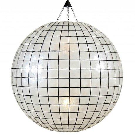HK-living Hanglamp XL bol gebrandschilderd glas wit ø83cm
